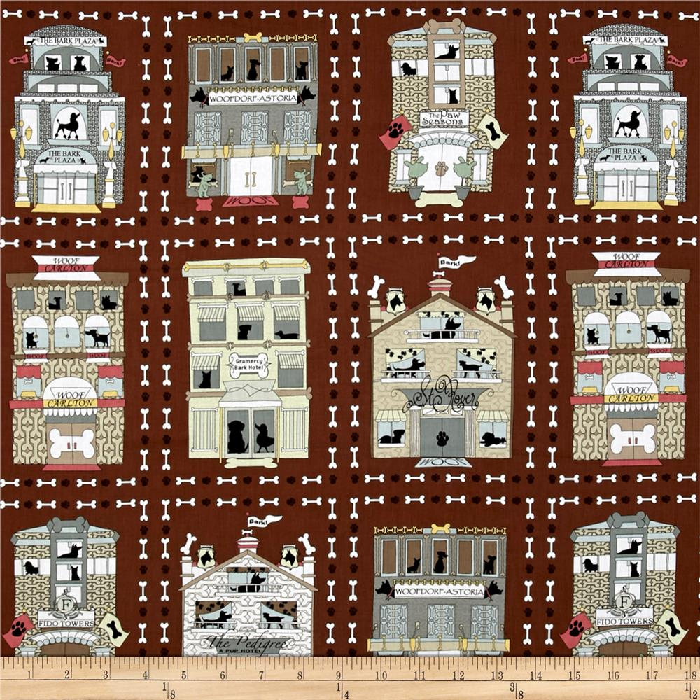 Kanvas Privileged Pups Hotel Le' Pup Brown 24'' Panel Fabric