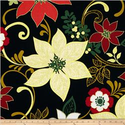 Christmas Spectacular Metallic Poinsettia Black