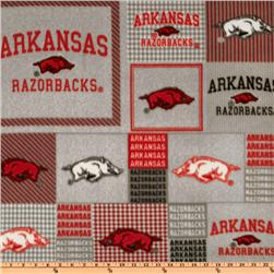 Collegiate Fleece University of Arkansas Blocks Red/Gray Fabric