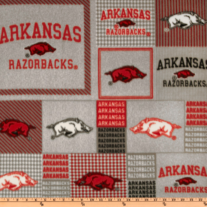 Collegiate Fleece University of Arkansas Blocks Fabric