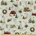Cozy Cabin Christmas Allover Cabin Metallic Multi