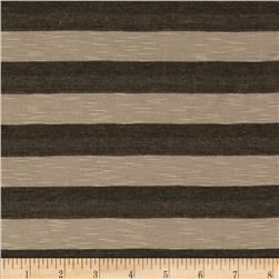Yarn Dyed Tri Blend Jersey Knit Stripes Brown/Tan