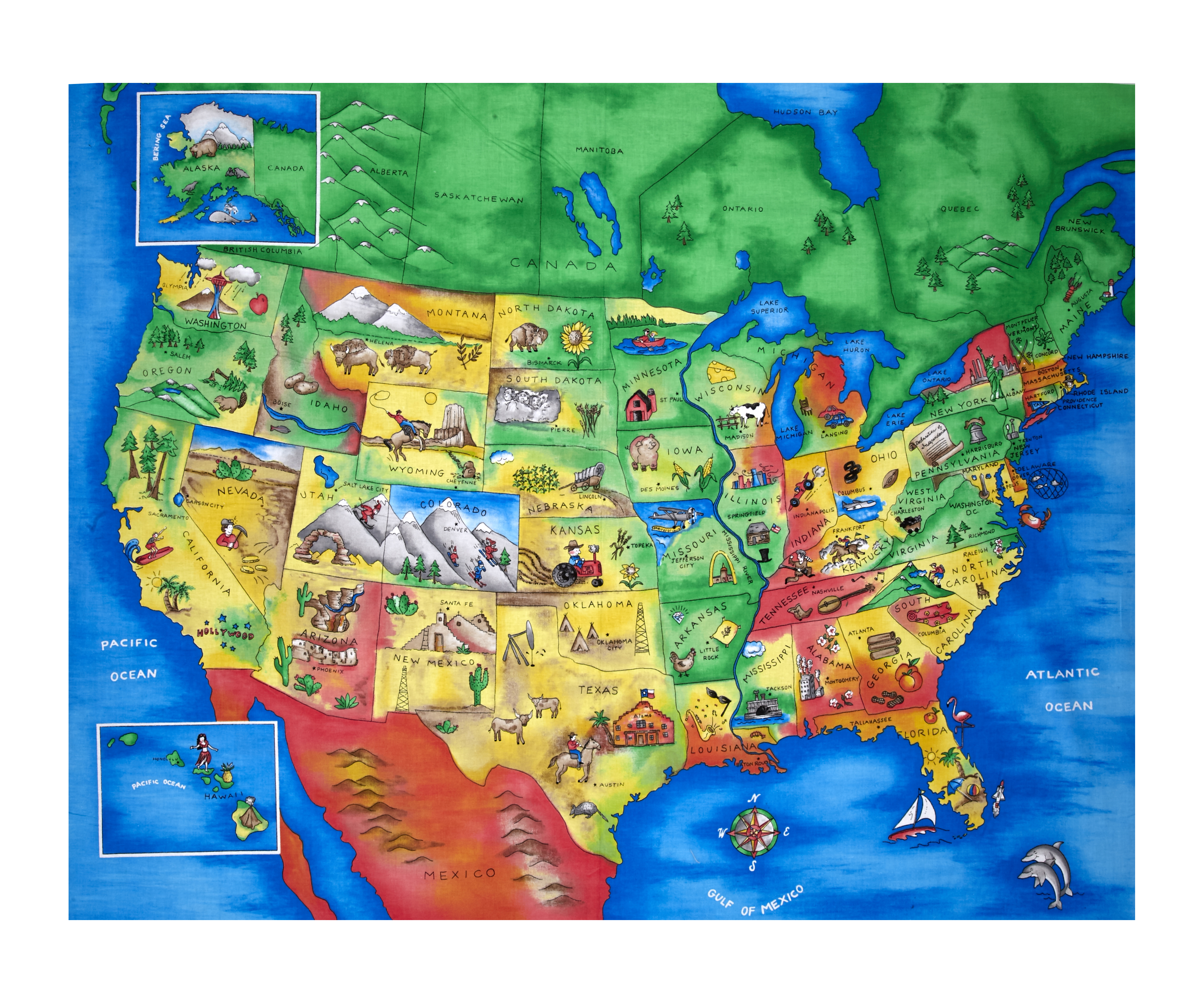 Map of the United States 35.5'' Panel Multi Fabric by Fabric Traditions in USA