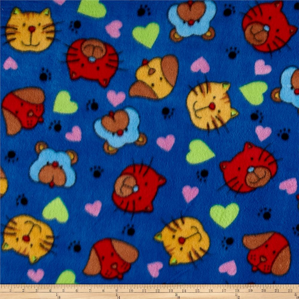 Polar Fleece Print Cat Dog Royal Fabric By The Yard