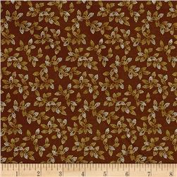 "108"" Wide Spangle Quilt Back Dotted Leaf Brown"