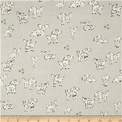 Cotton & Steel Clover Little Lambs Grey