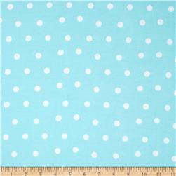 Flannel Polka Dots Aqua Blue Fabric