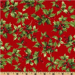 Moda Season's Greeting Holly Leaves Cardinal Red