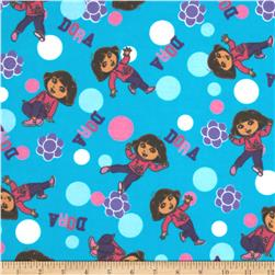 Totally Dora Flannel Floral Turquoise