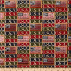 Moda Because of the Brave USA Flags Multi