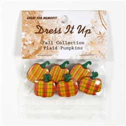 Dress It Up Embellishment Buttons Plaid Pumpkins