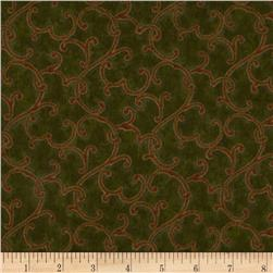 Williams Inn Flannel Trellis Dark Moss