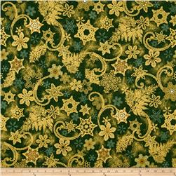 Kaufman Holiday Flourish Metallics Snowflakes Green