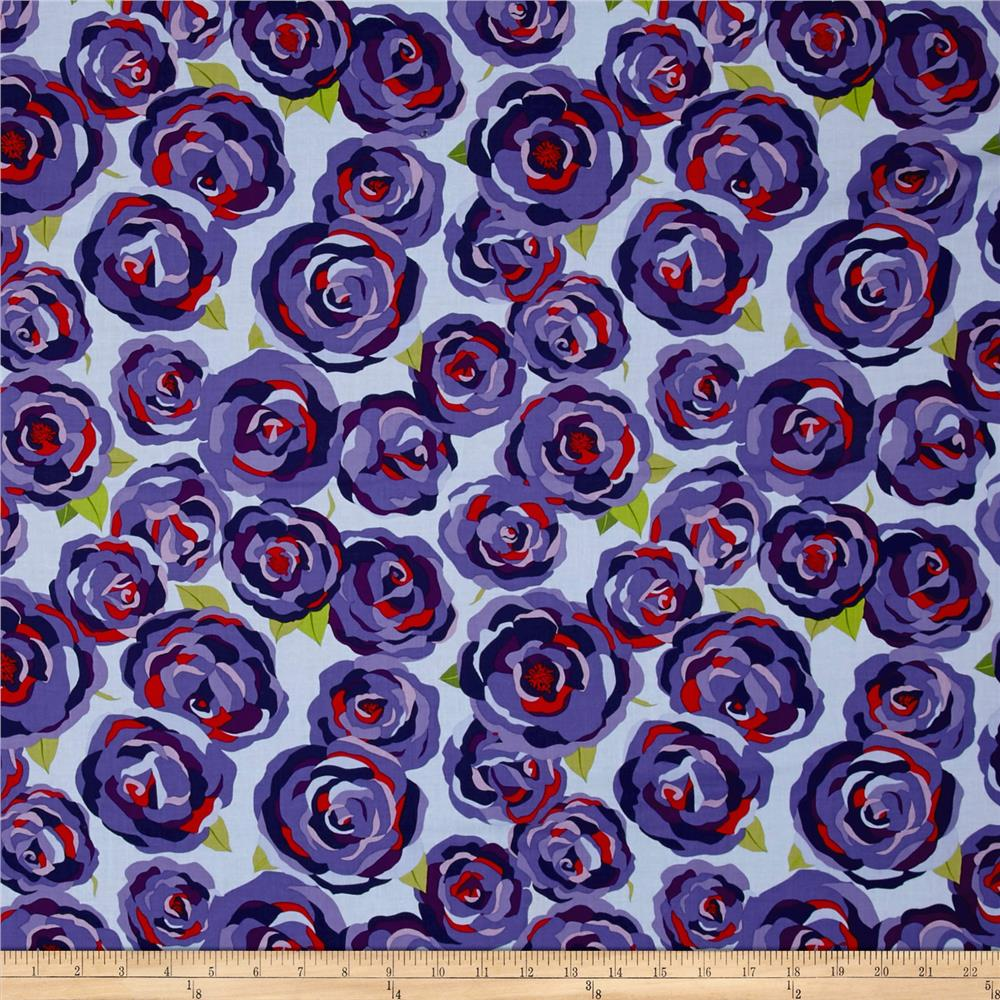 Penny Rose Coming up Roses Main Blue Fabric
