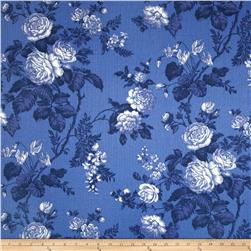 Nautica Indoor/Outdoor Seaport Floral Harbor Blue Fabric
