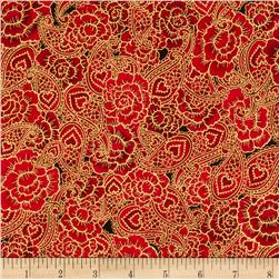 Sweet Heart Metallics Floral Paisley Red
