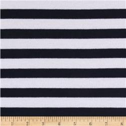 Striped Stretch Jersey Knit  Navy/White