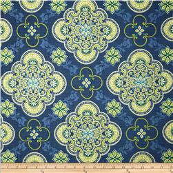 Tempo Indoor/Outdoor Medallion Blue Fabric