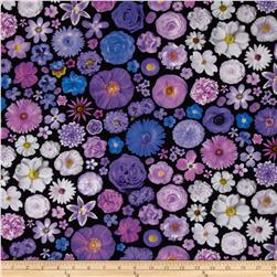Bloominescent Digital Scattered Floral Purple Fabric