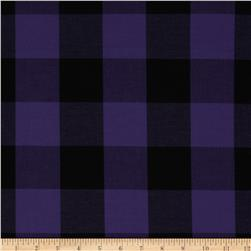 Stretch Yarn Dyed Shirting Large Check Purple/Black