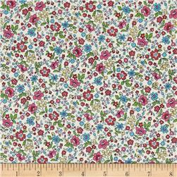 Memore a Paris Cotton Lawn Spring Flowers Trail Dark Pink