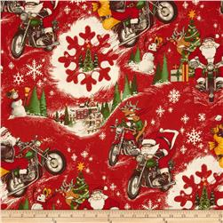 Christmas Time RPM Santa Dark Red Fabric