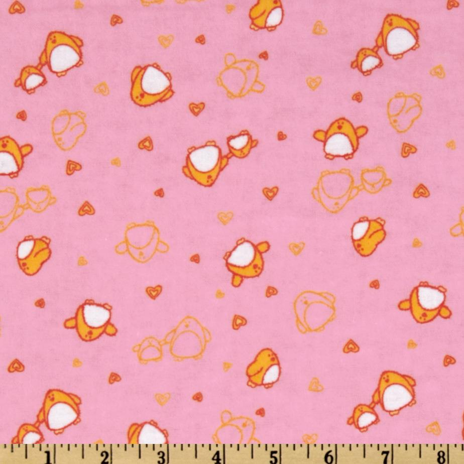 Camelot Flannel Tossed Penguins Pink