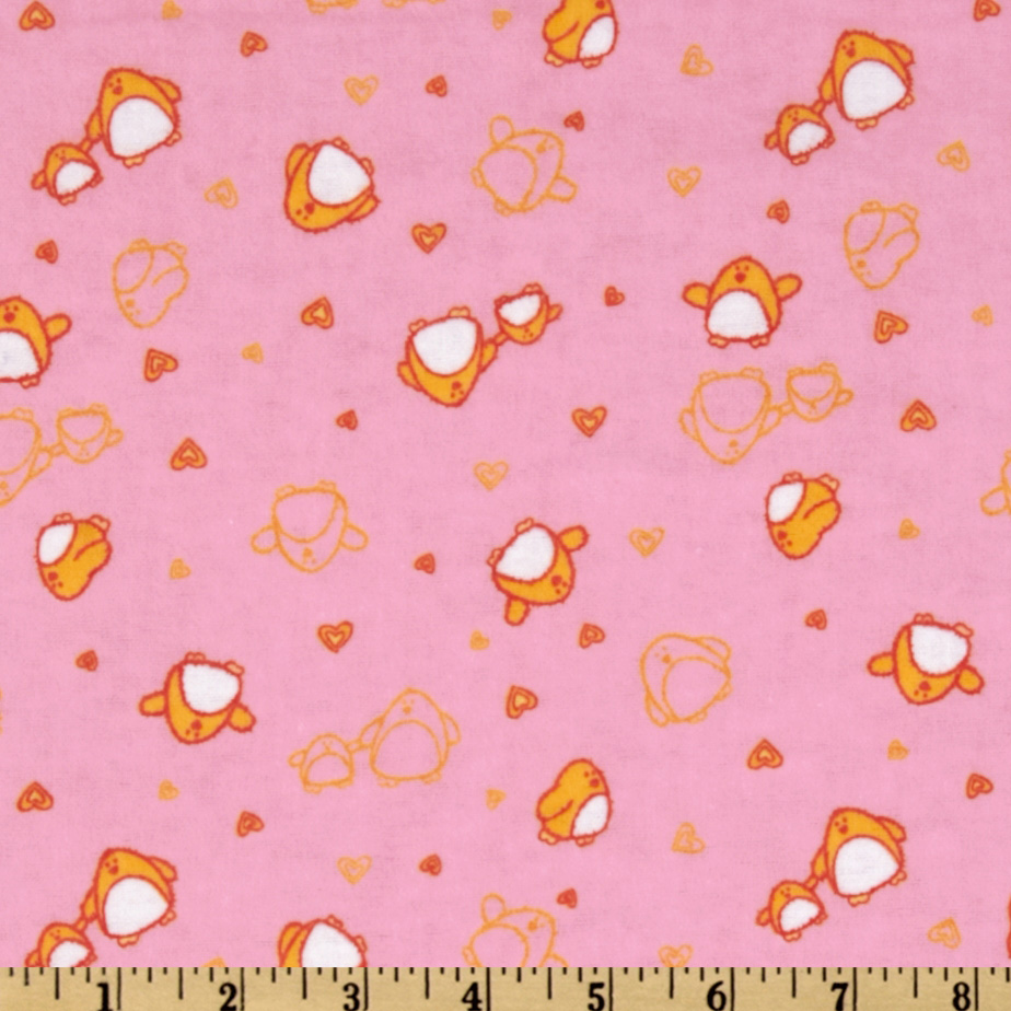 Camelot Flannel Tossed Penguins Pink Fabric
