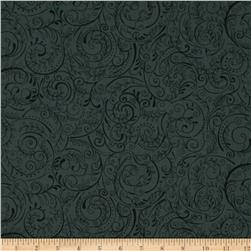 Charleston 108'' Wide Quilt Backing Swirly Vine Carbon