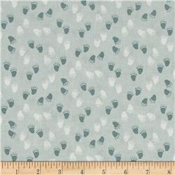 Woodie Winterland Paw Prints Light Blue