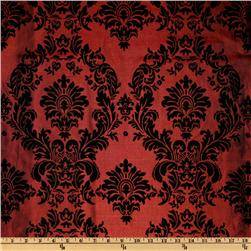 Iridescent Flocked Taffeta DamaskBlack/Burgundy