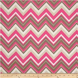 Bright Now Chevron White/Pink Fabric