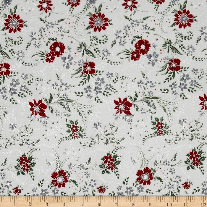 Berries and Blooms Metallic Christmas Floral Ice/Silver