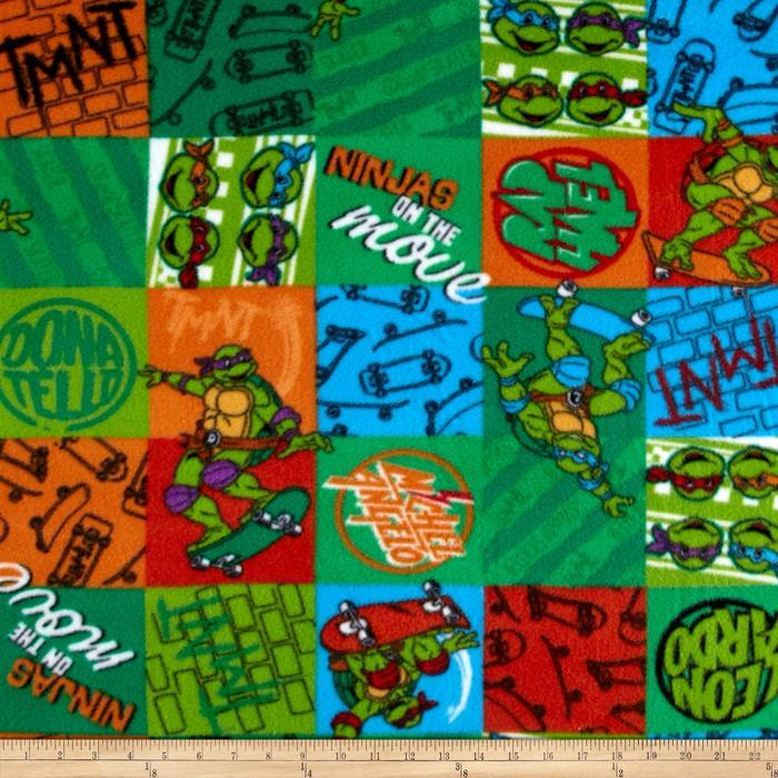 10 Yard Bolt Nickelodeon TMNT Fleece NINJA Patch Green Fabric