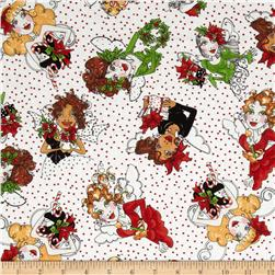Loralie Fairy Merry Christmas Fairy Toss White/Red Fabric