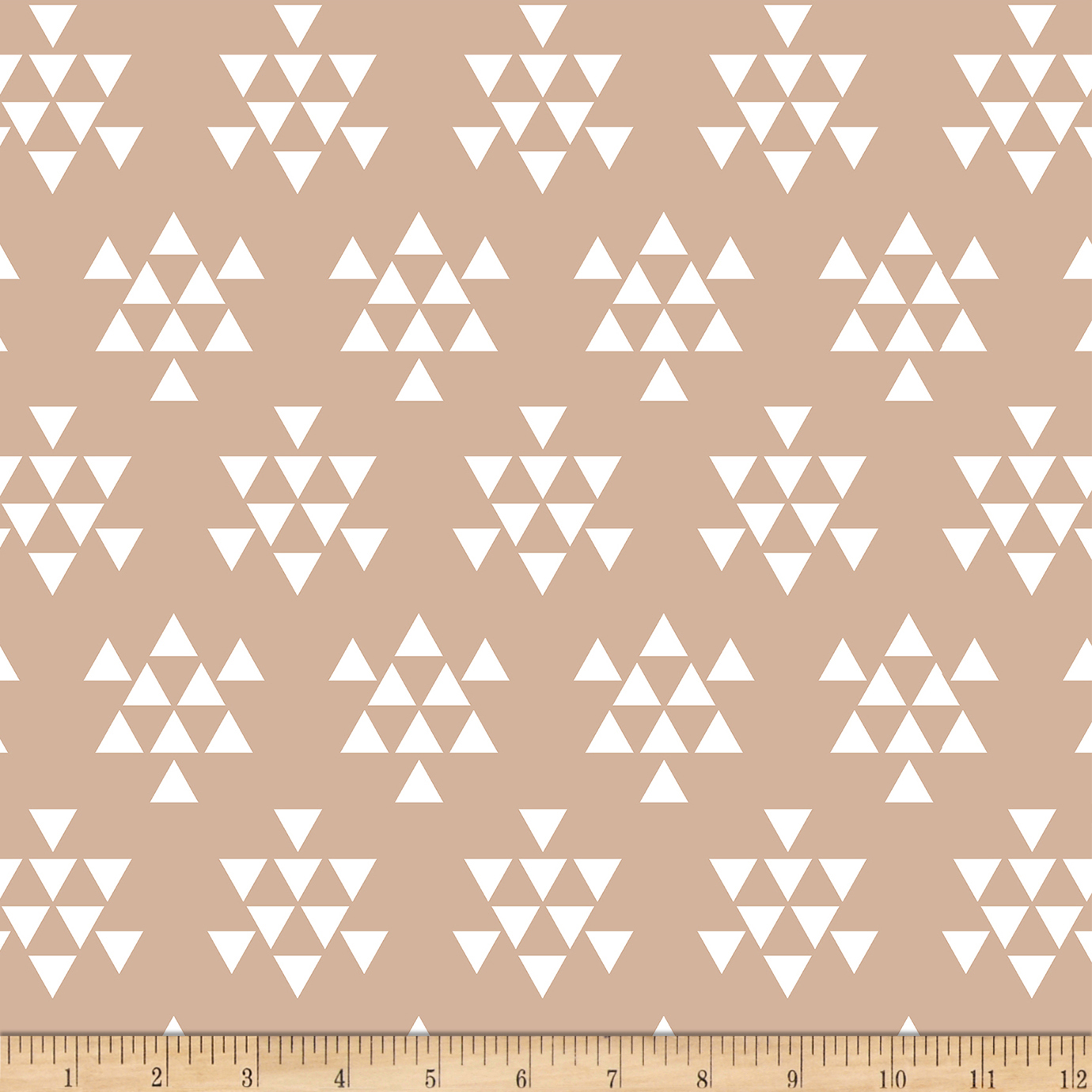 Image of Bolt By Girl Charlee Desert Sky Jersey Knit Triangle Arrows Almond Fabric