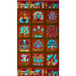 Folkloric Blooms Panel Large Floral Garden Red