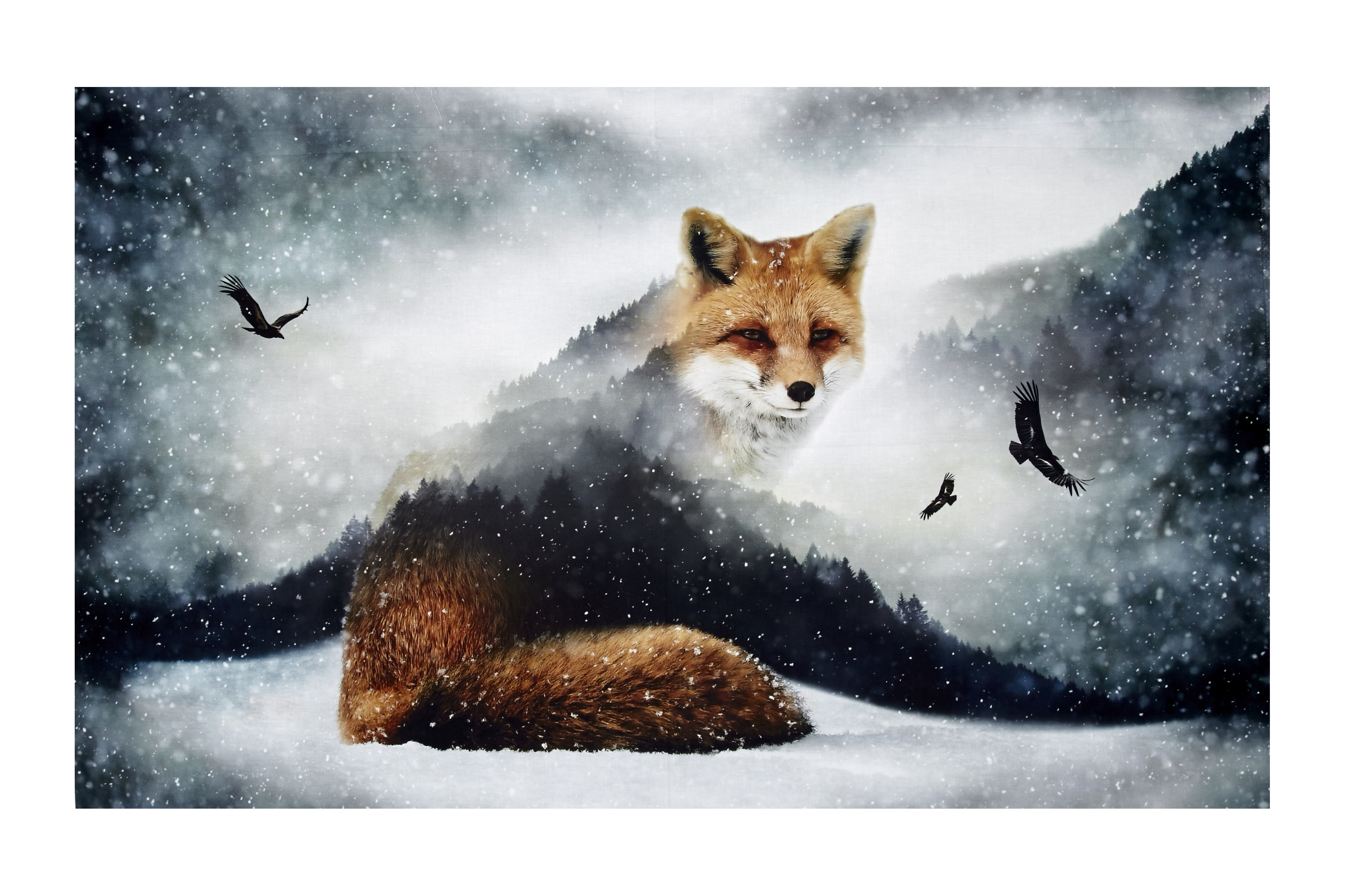 Call Of The Wild Digital 27.5'' Panel Foxes Fox Fabric by Hoffman of California in USA