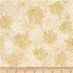 Kaufman Shades of the Season Metallic Leaf Etching Ivory