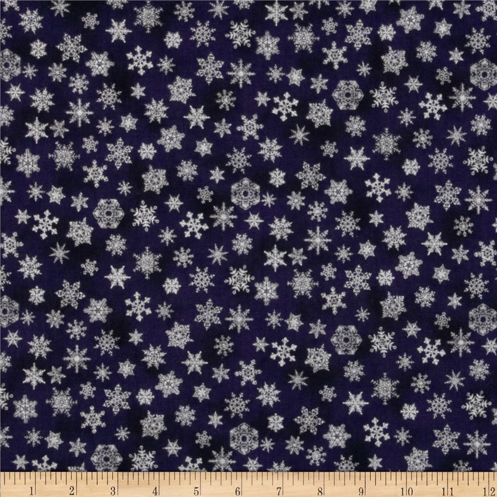 Holiday Accents Classics 2013 Metallic Small Snowflake Navy