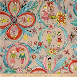 Alexander Henry Monkey's Business Flower Children Linen/Tea Dye