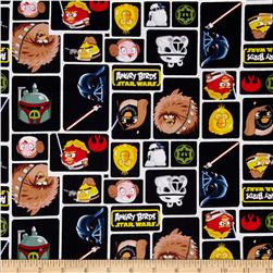 Star Wars Angry Birds Character Blocks Black Fabric