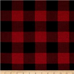 Hatchi Lightweight Sweater Knit Buffalo Check Plaid Red/Black