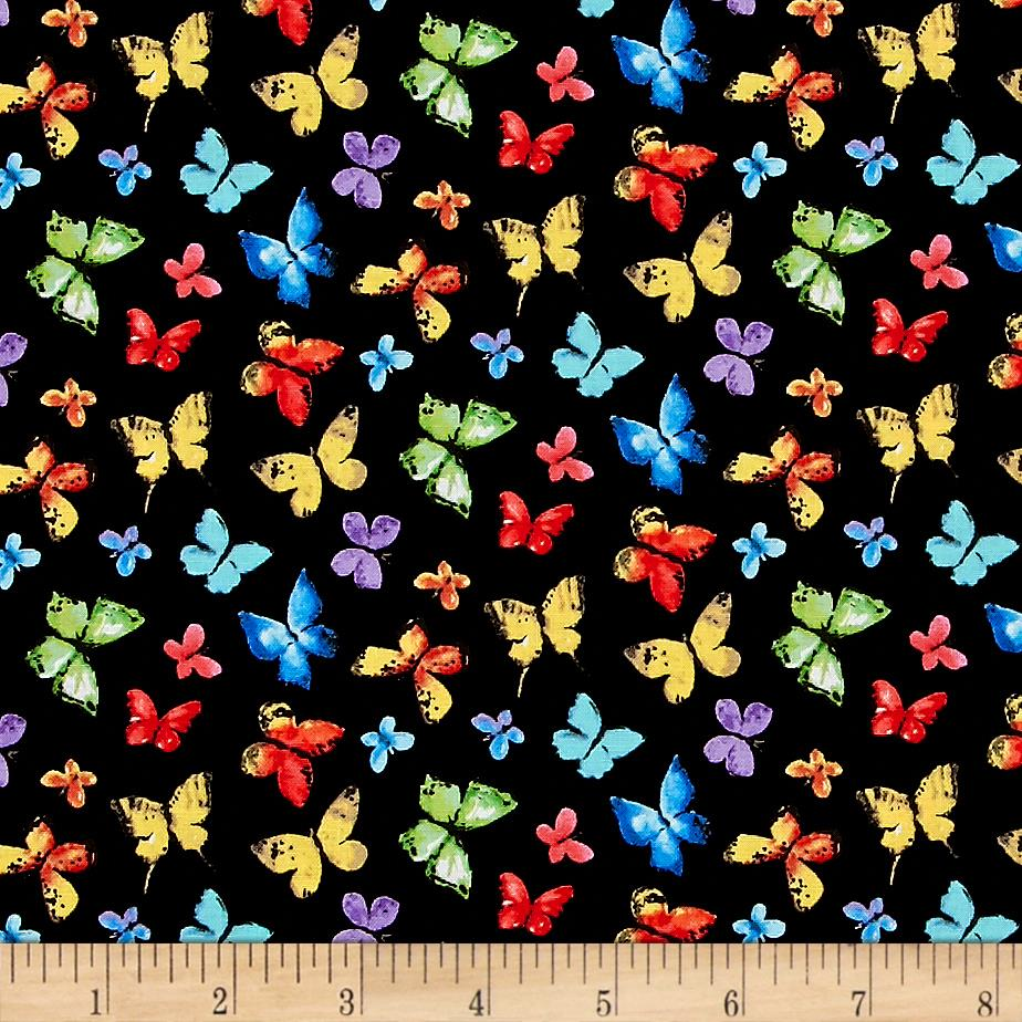 Michael miller garden party butterfly free black for Fabric purchase