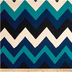 Poly Spandex ITY Knit Chevron Blue/ White/Black