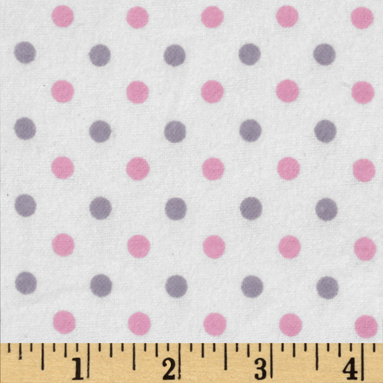 Flannelland Simply Dots White/Pink Fabric By The Yard by David in USA