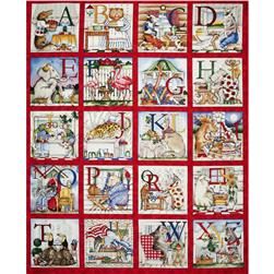 Hungry Animal Alphabet 36'' Panel Multi Fabric