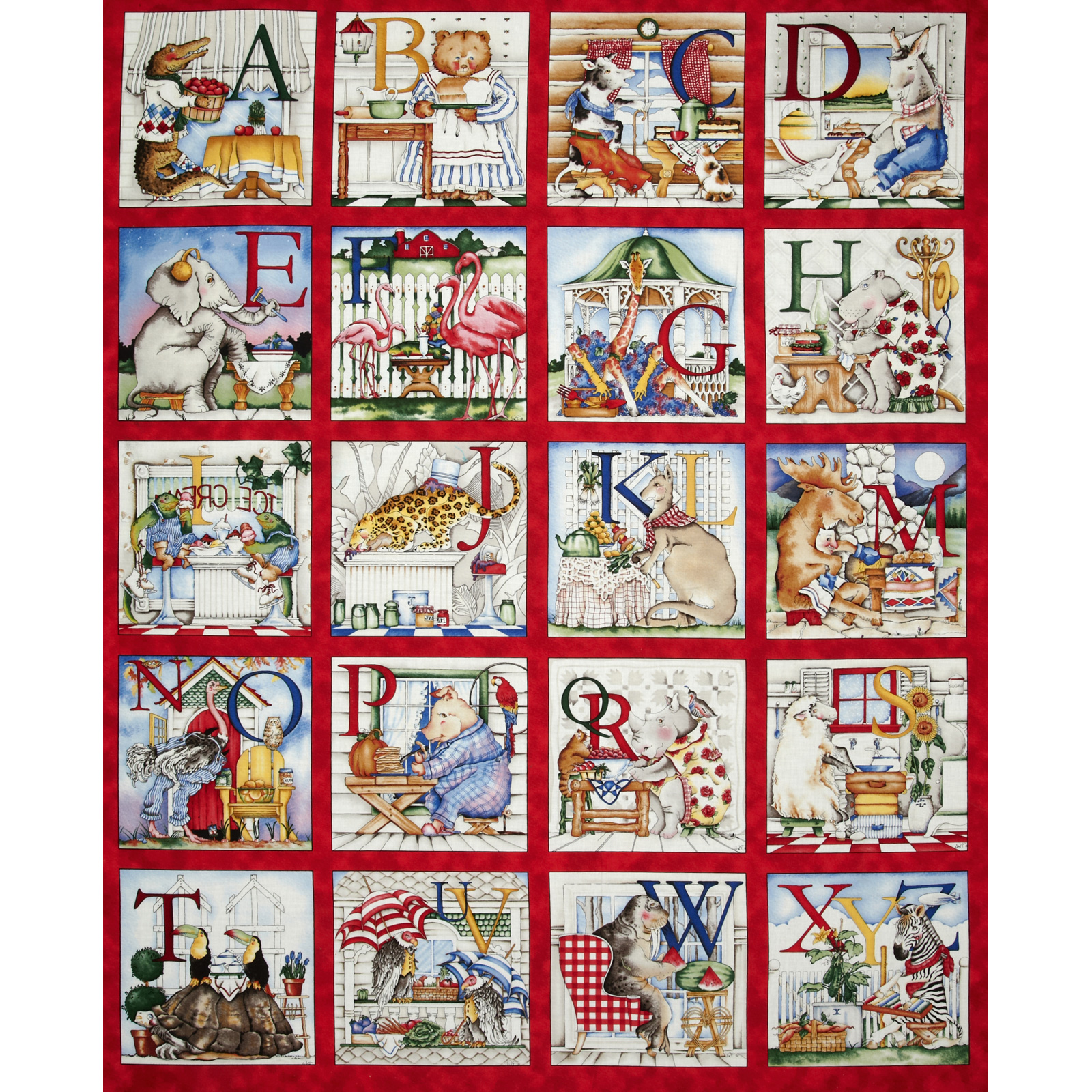 Hungry Animal Alphabet 36'' Panel Fabric by Quilting Treasures in USA