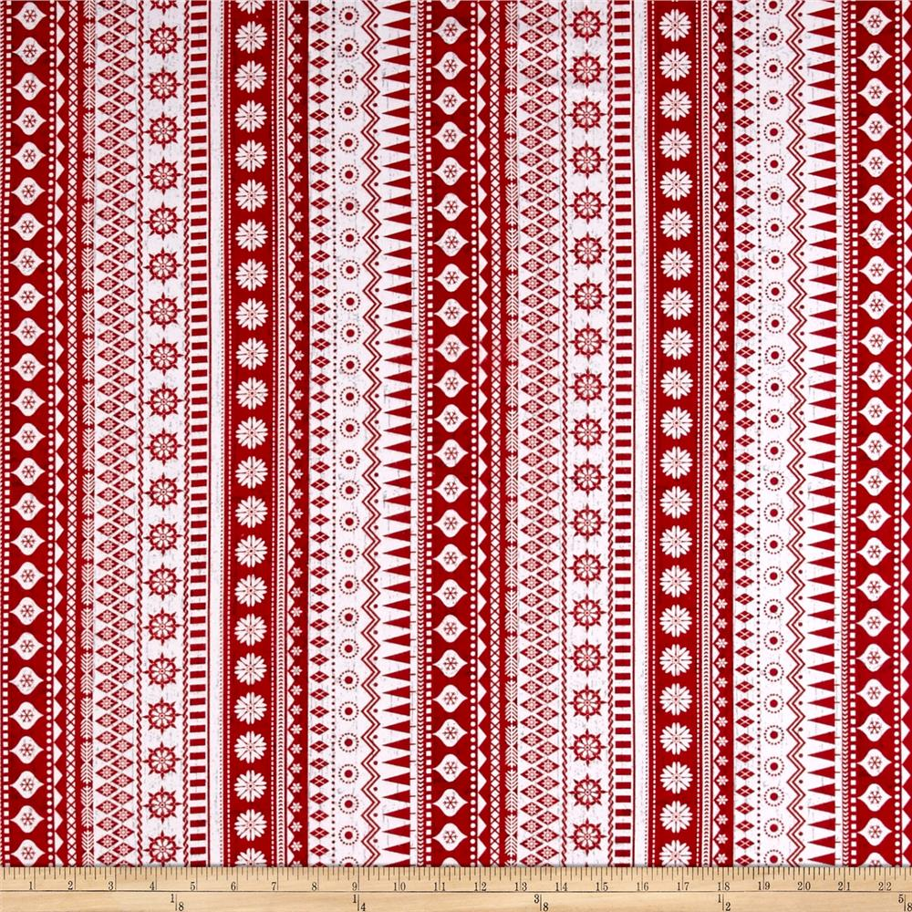 Frosty Folks Flannel Nordic Stripe Red Fabric