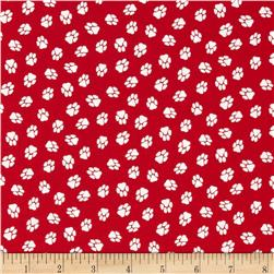 Dog Park Paw Prints Red Fabric